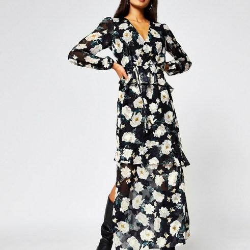RIVER ISLAND Black long sleeve floral maxi dress / romantic flower print dresses - flipped