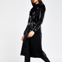 River Island Black long sleeve quilted Faux Leather Coat | glamorous trench style coats