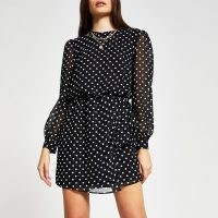 RIVER ISLAND Black long sleeve spot print mini dress / polka dot dresses