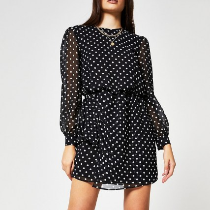 RIVER ISLAND Black long sleeve spot print mini dress / polka dot dresses - flipped