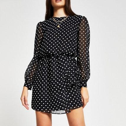 RIVER ISLAND Black long sleeve spot print mini dress / polka dot dresses
