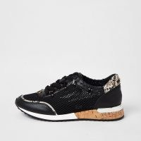 River Island Black mesh gem runner trainers   embellished sneakers