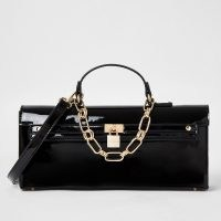 River Island Black patent padlock handbag | glossy chain detail bags