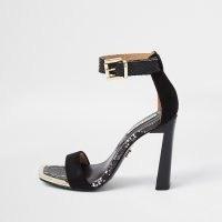 RIVER ISLAND Black pu almond toe sandal / snake prints / high heel ankle strap sandals