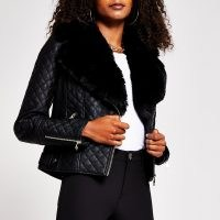 RIVER ISLAND Black quilted faux fur pu biker jacket / zip detail jackets