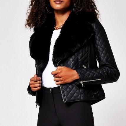 RIVER ISLAND Black quilted faux fur pu biker jacket / zip detail jackets - flipped