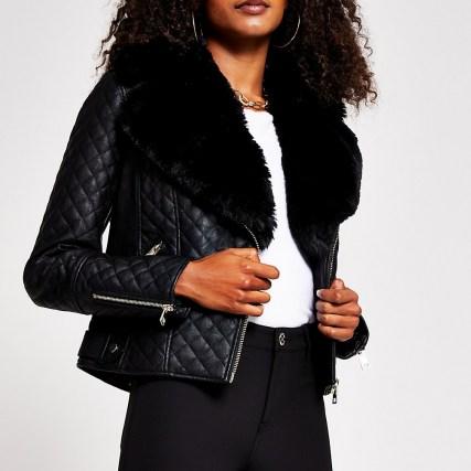 RIVER ISLAND Black quilted faux fur pu biker jacket / zip detail jackets