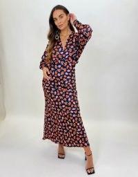 FOREVER UNIQUE Black Rose Print Maxi Dress / long length floral dresses