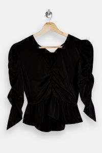 TOPSHOP Black Ruched Sleeve Tea Top