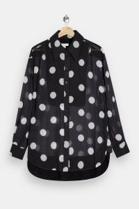TOPSHOP Black Sheer Spot Oversized Blouse / monochrome blouses / large polka dot prints