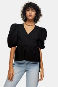 Topshop Black Stretch Wrap Top | puff sleeve tops