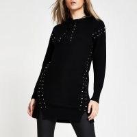 River Island Black studded gem long line hoody | longline knitted hoodies
