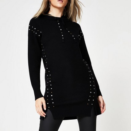 River Island Black studded gem long line hoody | longline knitted hoodies - flipped
