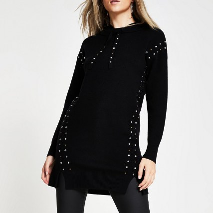 River Island Black studded gem long line hoody | longline knitted hoodies