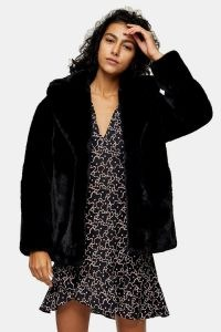TOPSHOP Black Two Tone Faux Fur Coat / fluffy winter coats