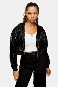 TOPSHOP Black Wet Look Cropped Jacket / high shine jackets