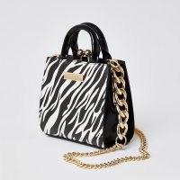 RIVER ISLAND Black zebra print mini lady handbag / animal print handbags / small mono bags