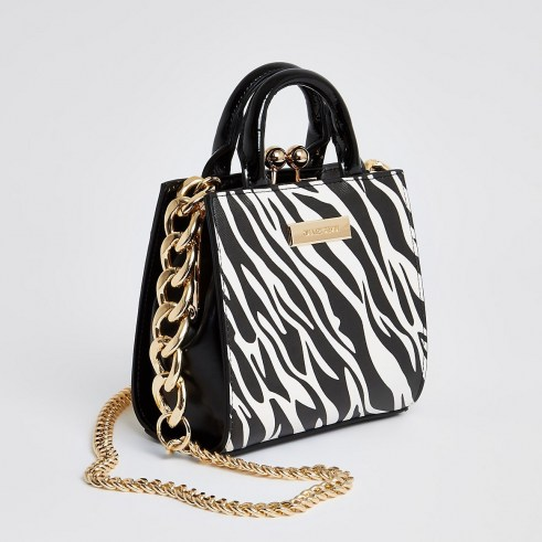 RIVER ISLAND Black zebra print mini lady handbag / animal print handbags / small mono bags - flipped