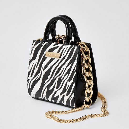RIVER ISLAND Black zebra print mini lady handbag / animal print handbags / small mono bags