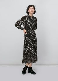 WHISTLES SPOT PRINT SILK SHIRT DRESS / monochrome polka dot dresses