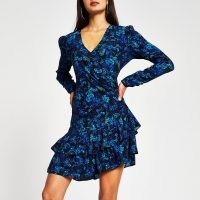 RIVER ISLAND Blue long sleeve floral print frill hem dress