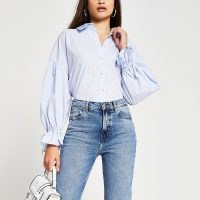 River Island Blue long sleeve ruched detail poplin shirt | tie detail shirts | volumn sleeve fashion