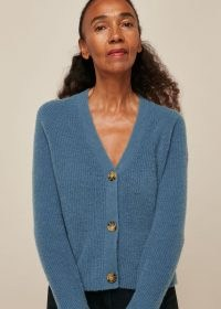 WHISTLES RIB TEXTURED WOOL MIX CARDIGAN Blue / V neck button up cardigans