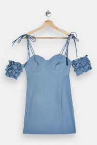 TOPSHOP Blue Ruffle Puff Sleeve Mini Dress ~ cold shoulder party dresses