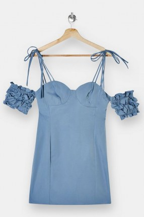 TOPSHOP Blue Ruffle Puff Sleeve Mini Dress ~ cold shoulder party dresses - flipped