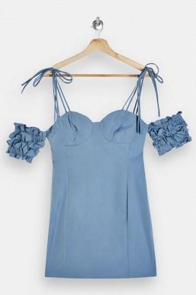 TOPSHOP Blue Ruffle Puff Sleeve Mini Dress ~ cold shoulder party dresses