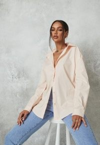 MISSGUIDED blush poplin extreme oversized shirt – womens pale pink shirts