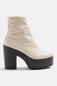 Topshop BO Ecru Chunky High Sock Boots | retro platforms
