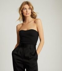 REISS BOBBI CROPPED BUSTIER TOP BLACK ~ strapless evening tops