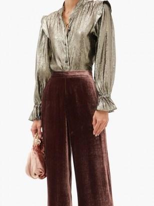 ETRO Borana silk-blend shirt ~ metallic silver shirts