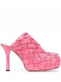 Bottega Veneta BV Bold platform mules in pink / woven leather platforms