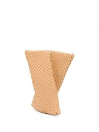 Bottega Veneta BV Crisscross clutch in apricot beige / twist detail leather bags