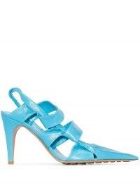 Bottega Veneta BV 90mm crinkled-leather slingback pumps ~ blue pointy toe cut-out slingbacks