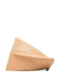 Bottega Veneta Twist woven clutch bag in beige / textured leather bags / twisted design