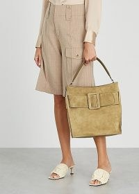BOYY Devon olive suede shoulder bag ~ large buckle detail bags