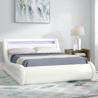 Galaxy LED Upholstered Ottoman Bed by Brayden Studio – Faux Leather