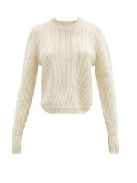 ISABEL MARANT Brent rib-knitted cashmere sweater ~ luxury curved hem sweaters