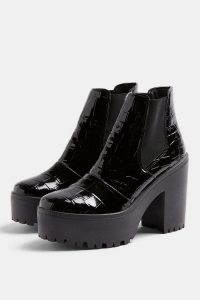 TOPSHOP BRIA Black Crocodile High Unit Boots / croc platform boots