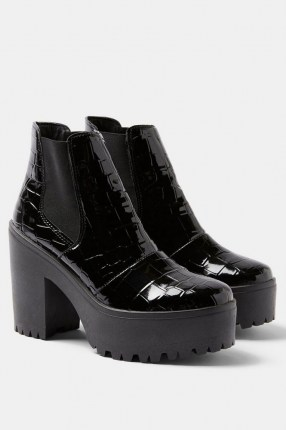TOPSHOP BRIA Black Crocodile High Unit Boots / croc platform boots - flipped