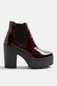 TOPSHOP BRIA Burgundy Crocodile Unit Boots – chunky croc embossed chelsea boot – retro footwear