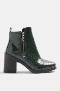 TOPSHOP BRIDIE Khaki Crocodile Unit Boots – green croc effect block heel boot