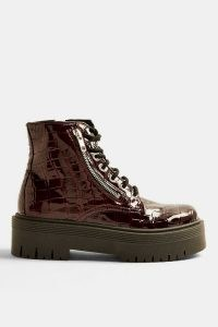TOPSHOP BROOKE Burgundy Patent Chunky Zip Boots – thick sole croc boots