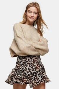 Topshop Brown Animal Print Ruffle Mini Skirt | ruffled skirts
