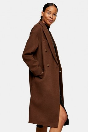 TOPSHOP Brown Double Breasted Coat ~ classic coats - flipped