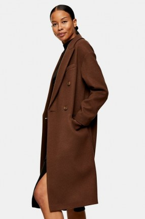 TOPSHOP Brown Double Breasted Coat ~ classic coats