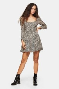 TOPSHOP Brown Stretch Animal Print Mini Dress Brown / long sleeve flared skirt day dresses
